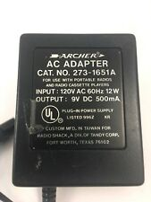 Archer  AC Power Supply Adapter Charger Output 9V DC 500mA AC Adapter 273-1651A