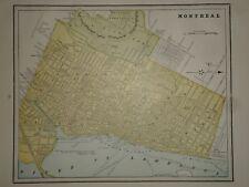 Vintage 1898 - MONTREAL, CANADA MAP Old Antique Original Atlas Map 98/121307