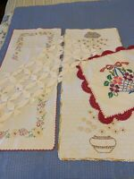 Vintage Lot Hand Embroidered Crochet Hem Dresser Scarf Table Runners Flowers