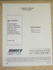 Manco Fun-Kart Model 713 715 Indy Kar Supplement Operator Parts List Manual Cart