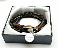 MENS ENGRAVED PERSONALISED LEATHER WRAP FATHER'S DAY BEST DAD BRACELET GIFT BOX