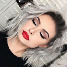 Ombre Gray Synthetic Lace Front Wig Short Bob Full Wig For White Women Party Wig