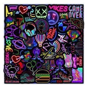 Cartoon Neon Light Graffiti Stickers Car Guitar Motorcycle Luggage Suitcase DIY