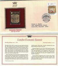 Great Britain 1057 - Economic Summit. Gold Replica Fdc. #02 Gb1057Fdc