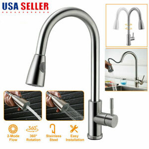 Brushed Nickel Kitchen Sink Faucet Pull Out With Sprayer Single Handle Mixer Tap
