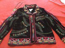 Coldwater Creek Size L Snap Shut Colorful Embroidered Velour Boho Jacket Black