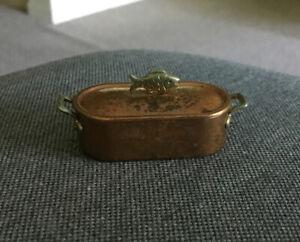 Vintage German Bodo Hennig Copper FISH POACHER Pot 1:12 Dollhouse Miniatures