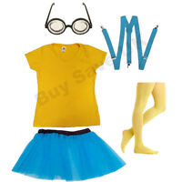 LADIES DESPICABLE ME TOP BRACES GOGGLES SKIRT TIGHTS FANCY DRESS COSTUME MINION