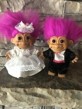 "Troll Dolls By Russ! Magenta Hair Brown Eyes! Bride And Groom! 4""!"