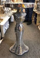 Silver Mirrored Table Modern Flower Stand Bed Side Sparkle Lamp Romany Mosaic UK