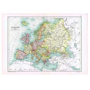 Antique Map 1910 - General Map of Europe by Bartholomew