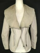Alice + Olivia Women's Jacket US S Ivory Leather Cotton Zippers Suede Collar