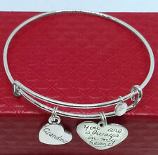 Valentines 925 Sterling Silver Nana Bracelet Grandma Always in My Heart Charms
