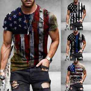 New American Flag T Shirt Stars And Stripes Short Sleeve Men Sports Workout Top
