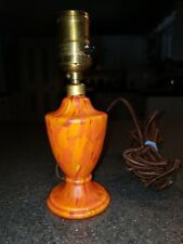 Vintage Czech Bohemian Ruckl ? Studio Art Glass Orange Spatter Canari ? Lamp