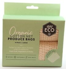 NEW Ever Eco Produce Bags %7c Organic Cotton %7c 4 Pack Cotton Bags %7c Large