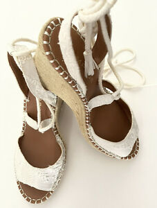 """RAMPAGE Ivory Espadrilles Ankle Straps Size 9.5M 4""""wedge NEW"""