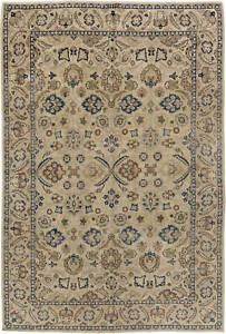 T a b r i z Camel, Blue, Yellow and Pink Botanic Wool Rug BB3519