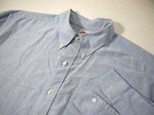 Brooks Brothers Mens Dress Shirt 18 35 Solid Blue Career Work 100% Cotton