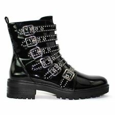 Womens Ladies Chunky Military Style Biker Boots With Buckles and Studs, Size 3-8