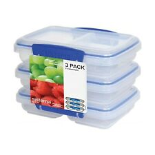 Meal Prep Containers Food Storage Reusable Microwave Safe 2 Compartment Set Of 3