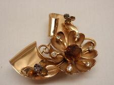 Vintage 1940s Coro Pin Brooch Flower Floral Ribbon Rhinestones Topaz Book Piece