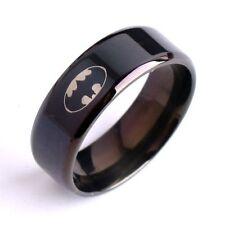 Fashion Titanium Size 9 Black Batman Stainless Steel Polished Rings Symbol 316L