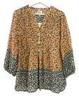 NWT Anthropologie FIG & FLOWER PEASANT Tunic Boho TOP Blouse Shirt Floral Orange
