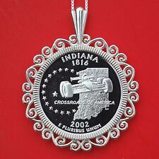 US 2002 Indiana State Quarter 90% Silver Proof Coin 925 Sterling Silver Necklace
