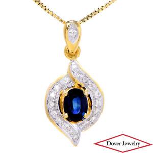 Diamond 1.40ct Sapphire 18K Gold Bypass Solitaire Dangle Pendant NR