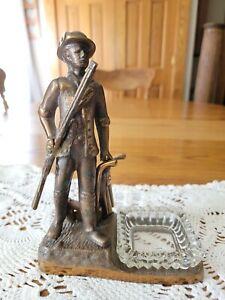 Vintage Bronze Revolutionary War The Minute Man Figurine Trinket Coin Keys Dish