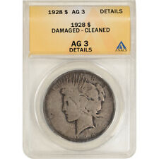 1928 US Peace Silver Dollar $1 - ANACS AG Details - Damaged Cleaned