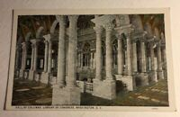 Post Card Hall of Columns Library of Congress Washington DC Unsent