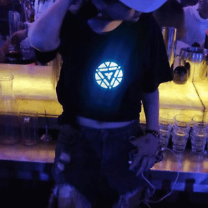 LED Arc Reactor Iron Man Tony Stark T-Shirt Light Up Teenager Man Cosplay US