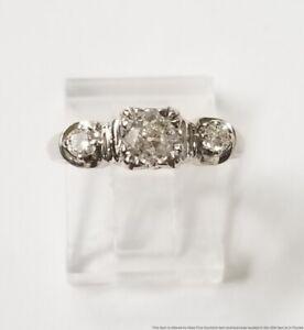 Art Deco .50ct Center 3 Stone 1940s 14k White Gold Ladies Diamond Ring
