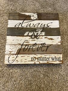 Always & Forever Rustic Wood Sign, 12x12 decor