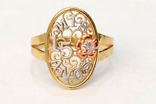 14k White Rose Yellow Gold Sweet 15 Birthday Oval Quinceanera Ring Band Flower