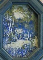 Kleines Gemälde Abstrakt Landschaft Original, gerahmt, oktagonal