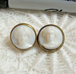 """2 Antique Glass Waistcoat Buttons JENNY LIND 3/8"""" & 7/16"""" Paris Back"""