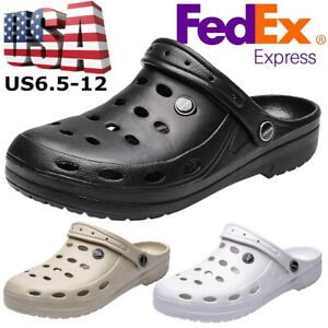 US Mens Slip On Garden Mules Clogs Shoes Sandals Beach Slippers Shoes Size 6-13