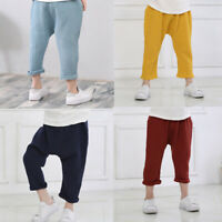 Kid Boy Girl Cotton Linen Pants Toddler Loose Harem Casual Trousers Solid Casual