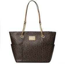 NEW Calvin Klein Designer Large Shopper Tote Bag Brown Khaki Camel MSRP $198