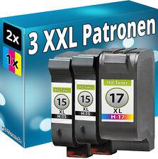 SET 3x TINTE PATRONEN für HP15+17 für DeskJet 825c 845c 840c C6615DE+C6625AE