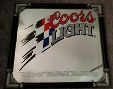 Coors Light mirror sign, silver bullet racing 24x22