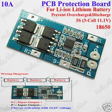 3S 10A 11.1v 12.6v 3 Pack 18650 Li-ion Lithium Battery Cell BMS Protection Board