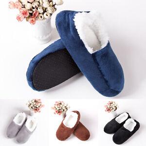Winter Men Home Indoor Floor Socks Warm Slippers Solid