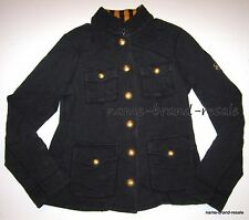 TOMMY HILFIGER Womens Jacket SMALL S MILITARY Black Crest Gold Buttons