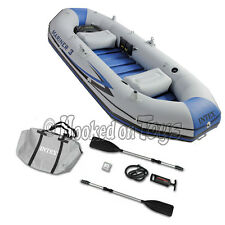Intex Mariner 3 Inflatable Boat Floating Raft w Rod Holders Paddles Pump 68373EP