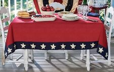 Country Star Spangled Table Cloth 54x54 Red Navy Cream Cotton Americana