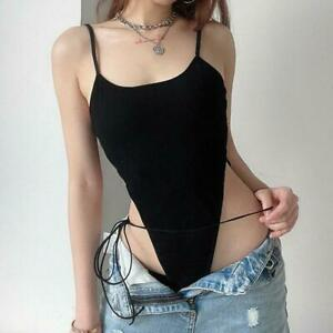 Fashion Womens Sexy Overalls Romper Tops High Waist Camisole Lace Up Jumpsuits